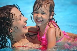Mom and Baby swimming at Esplanade swimming pool