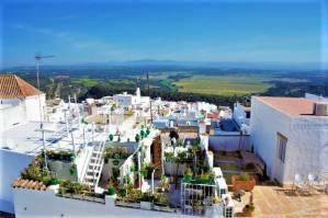 Vistas desde castillo vejer de la frontera panorama pueblo blanco white village Cadiz Explore la Tierra