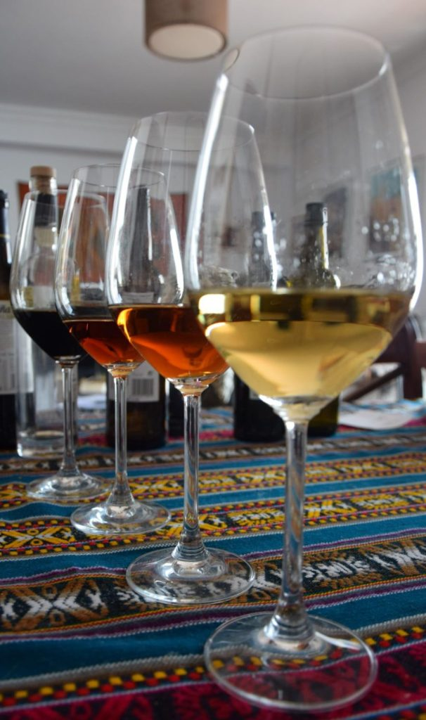 Differences between Sherry wines from pale and dry manzanilla to dark sweet and bold Pedro ximenez online experience tour Cata vinos de Jerez online