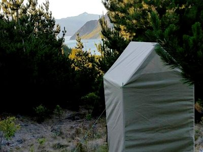 Toilet tent with view in the background