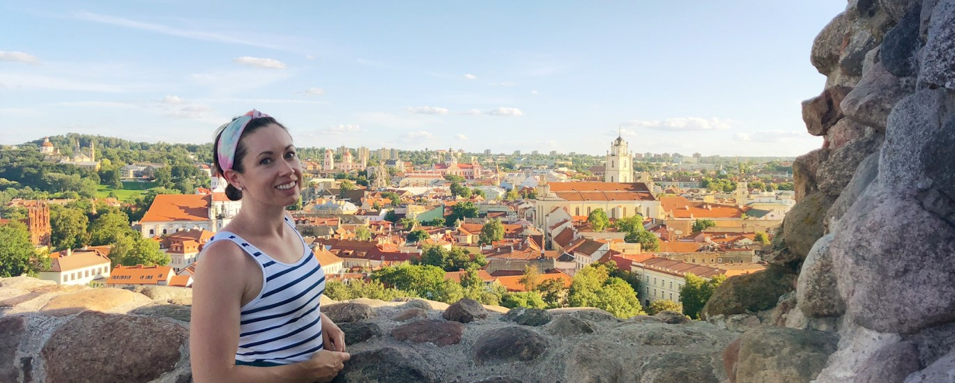 Emma CW overlooking Old Town Vilnius at Gedminas Tower