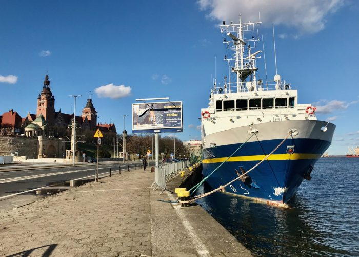 The Szczecin waterfront, in front of the Wały Chrobrego. The Marine Academy research boat moored here.