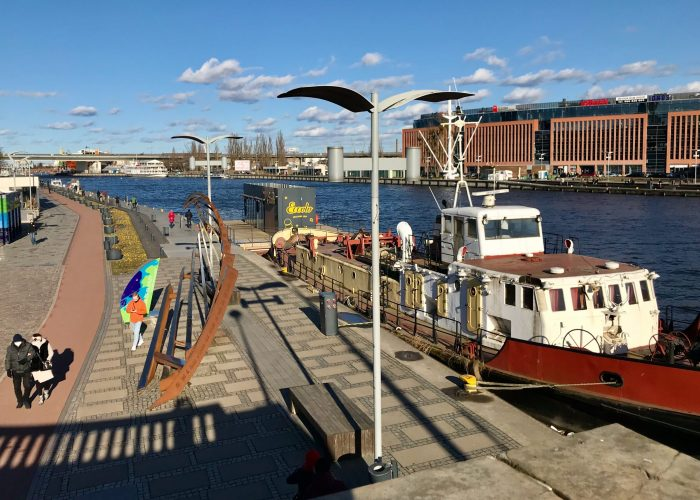 The Szczcecin riverfront walk, from the stairs you ascend to street level at the turning point in the walking loop.