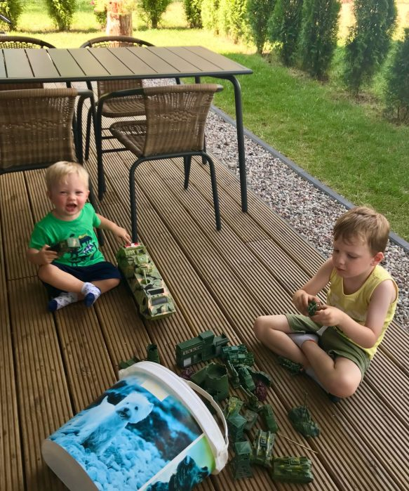 Happy campers playing with the toys at the Airbnb in Augustow