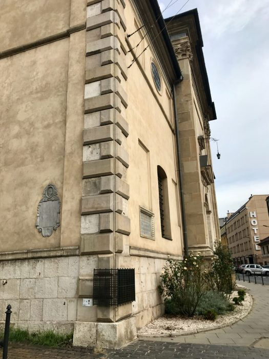 The corner of the Carmelite church containing Queen J's legendary footprint