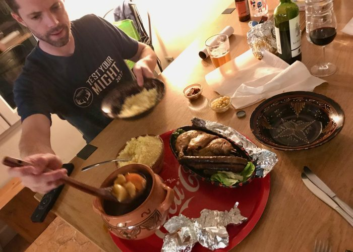 Dinner at the Airbnb in Paris