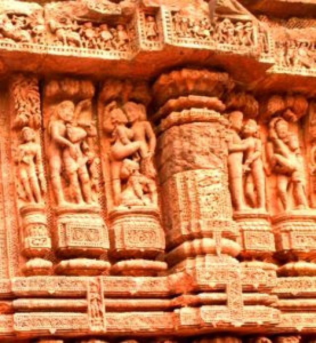 Sexual images at Konark sun temple, India