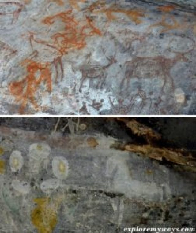 prehistoric cave paintings at Bhimbetka