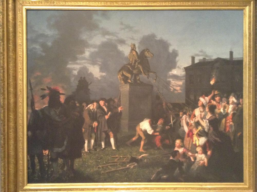 Painting by Johanes Adam Simon Oertel depicting the pulling down of the statue of King George the III at Bowling Green Park. This painting hangs at the New-York Historical Society.