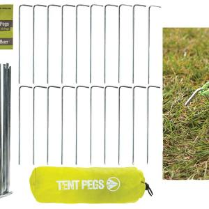20 Metal Tent Pegs with Storage Bag