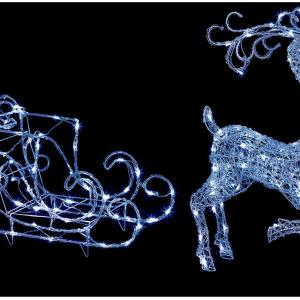 LED Acrylic Reindeer & Sleigh Christmas Light