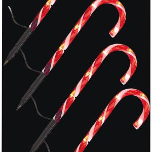25cm 4 Piece Candy Cane Path Lights with 20 LEDs