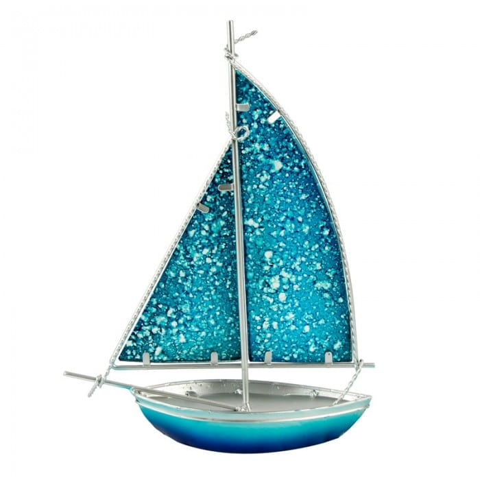 Stained Glass Bermuda-rigged Yacht, light blue, 26cm