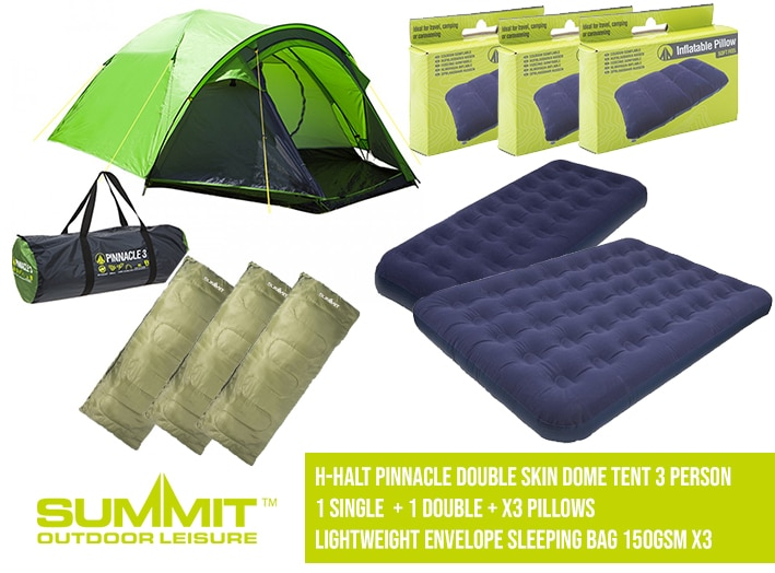 Summit Camping Package 2 – H-Halt Pinnacle Double Skin Dome Tent 3 Person / 1 Single Bed / 1x Doubl