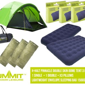 Summit Camping Package 2 – H-Halt Pinnacle Double Skin Dome Tent 3 Person / 1 Single Bed / 1x Double Bed / x3 Pillows / x3 Lightweight Envelope Sleeping Bag 150Gsm