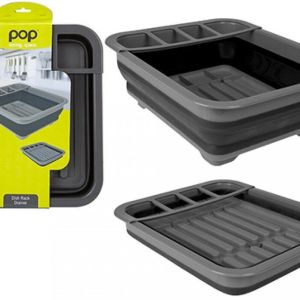 Summit Pop! Collapsible Dish & Utensil Drainer – Black/Grey