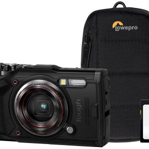 Olympus TG-6 12MP 4x Zoom Tough Compact Camera, 32GB SD Card & Case – Black