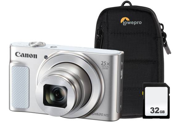 Canon PowerShot SX620 HS 21.1MP 25x Zoom Compact Camera, 32GB SDHC Card & Case – White