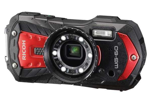 Ricoh WG-60 16MP 5x Zoom Tough Compact Camera, 64GB SD Card & Case- Red
