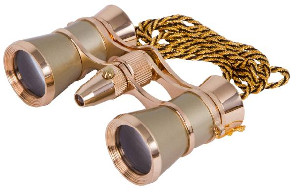 Levenhuk Broadway 325F Opera Glasses (gold, with LED light and chain)