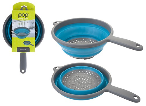 Pop! Collapsible Colander with Handle – Blue/Grey