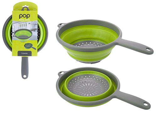 Pop! Collapsible Colander with Handle – Lime/Grey