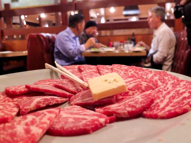 Ribeye service platter as served at Dong Il Jang.