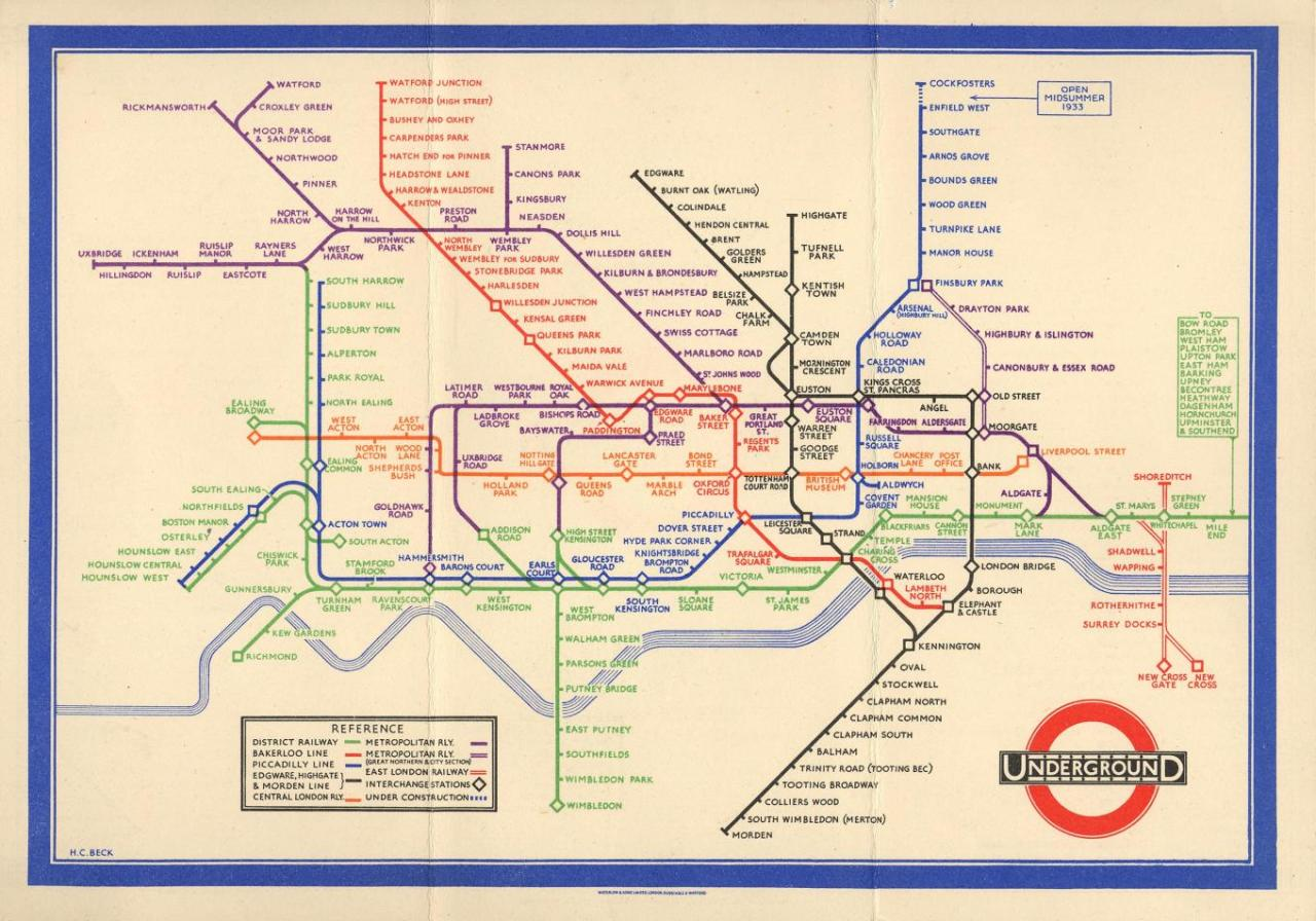 Electrical draughtsman Harry Beck's revolutionary (but not geographically accurate) London Underground Map from 1933, on which today's Tube map is based. (Illustration courtesy of Transport For London)