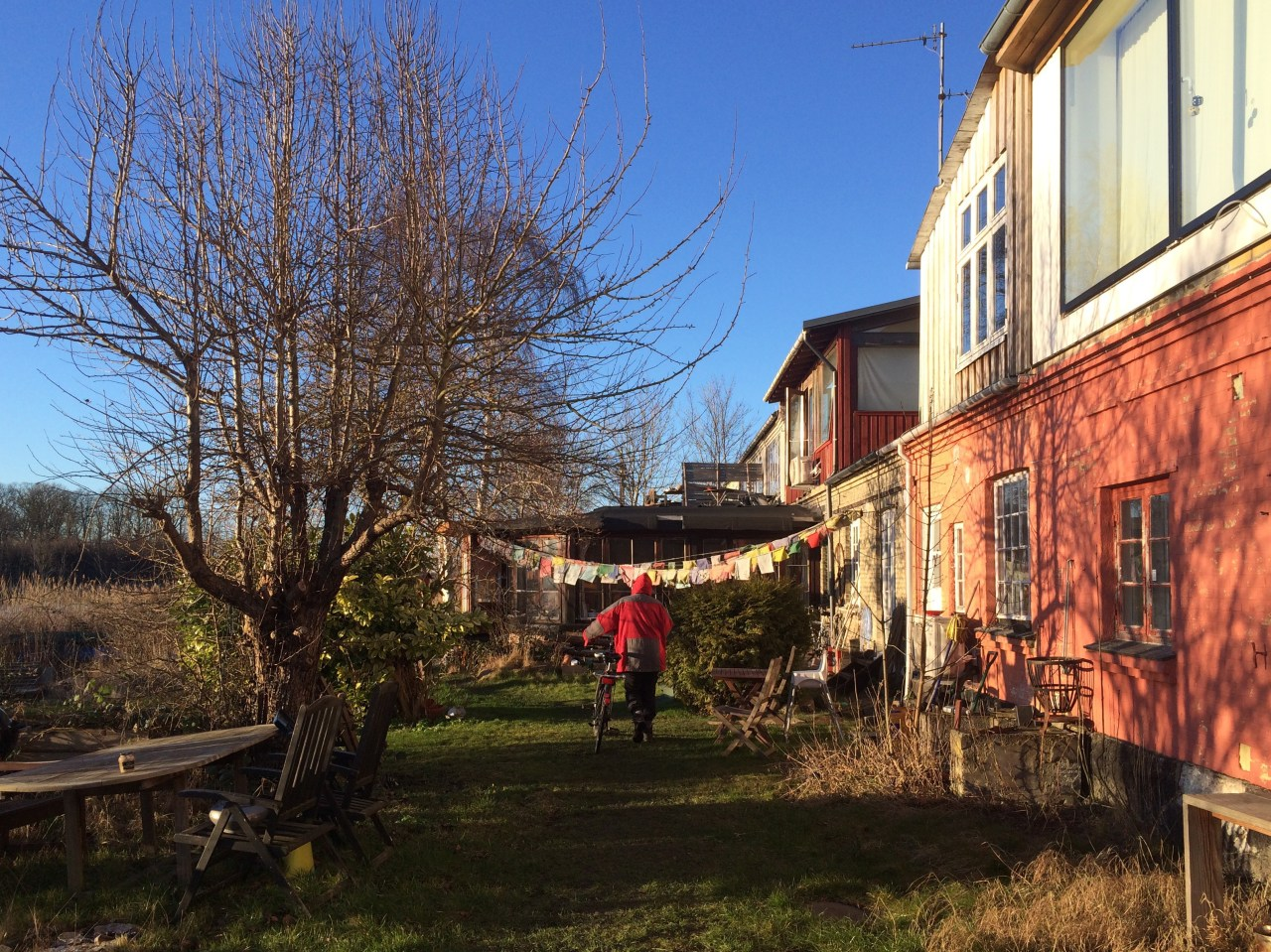 My mother in front of the wooden home she housesat last winter.