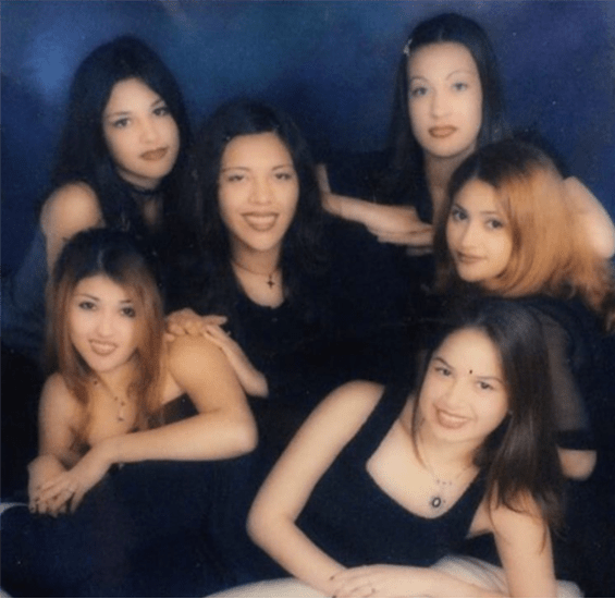 1: GENUWINE LOVERS Party Crew in Santa Ana in 1996 (Photo courtesy of @jorgalina99/Veteranas and Rucas) / 2: Gloria (left) and her sister Maria grew up in Boyle Heights, East Los and Montebello. This photo was taken at the Montebello Town Center in 1996. (Photo courtesy of Veteranas and Rucas)