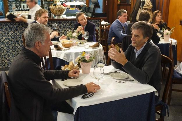 1: Bourdain with André Apolinário at Real Companhia Velha. / 2: Bourdain with José de Meirelles at A Cozinha do Martinho.