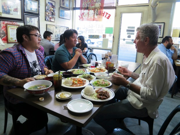 Bourdain eating lunch at Ethel's Grill.