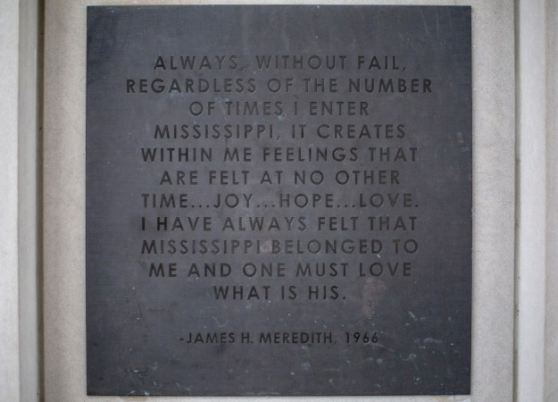 Plaques with historical quotes at the University of Mississippi.