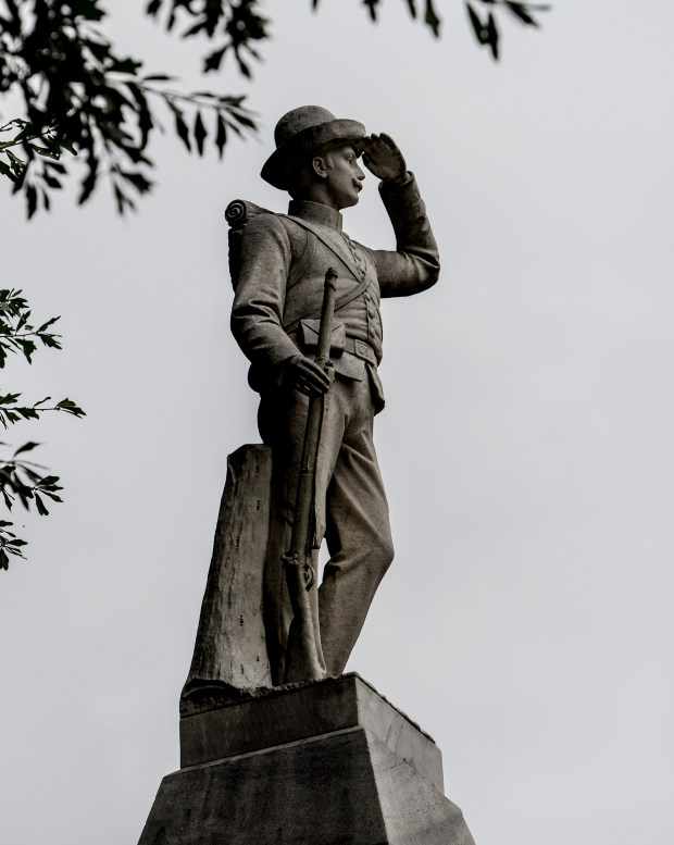 The Confederate monument.