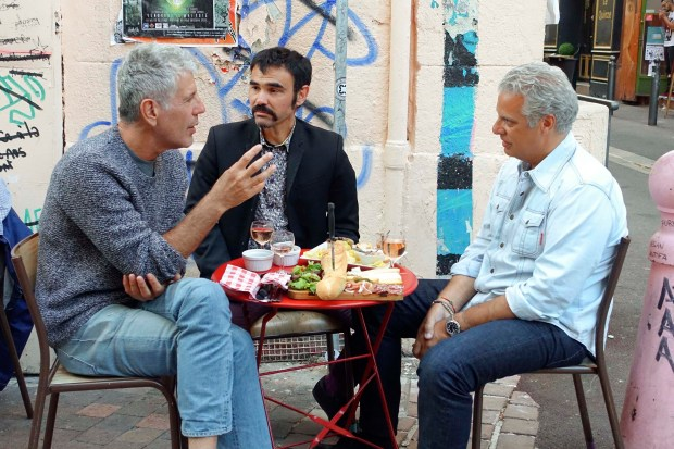 Bourdain with Chef Eric Ripert (right) and Gilles Rof (center), local culture/sports/crime reporter at Bar Waaw in Marseille.