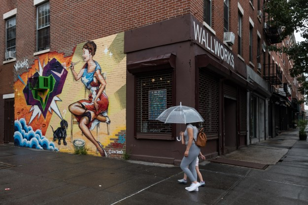 1.The facade of Wallworks features a mural by Crash and Bio, two legendary Bronx artists. / 2. Sculptures by Keon are part of Wallworks Summer Abstraction exhibit.