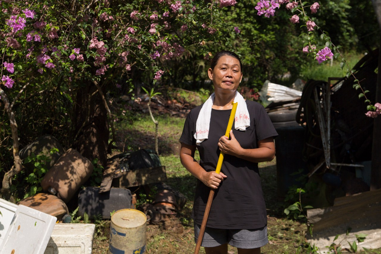 Nur Khasanah, a domestic helper from Indonesia works in a family on Pulau Ubin.