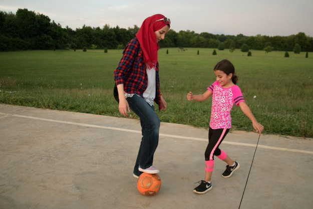 Children play outside the Islamic Center of Murfreesboro.