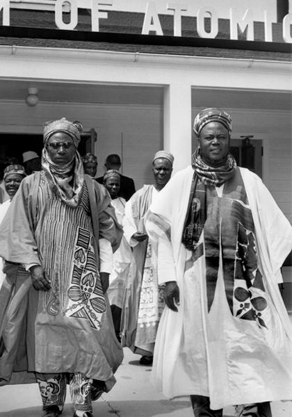 1. Prime Minister Balewa, c. 1962. (Photo by Abubakar via Wikimedia Commons). / 2. Sir Ahmadu Bello (right) outside the Atomic Museum, Oak Ridge, Tennessee, c. 1960. (Photo by Ed Westcott/Doe-oakridge via flickr.com)