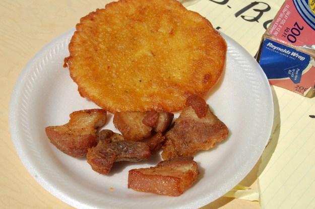 1. Alcapurrias. (photo courtesy of Jorge Rodriguez via flickr.com) / 2. Bacalaítos served with pork belly. (photo courtesy of stuart spivack via flickr.com)