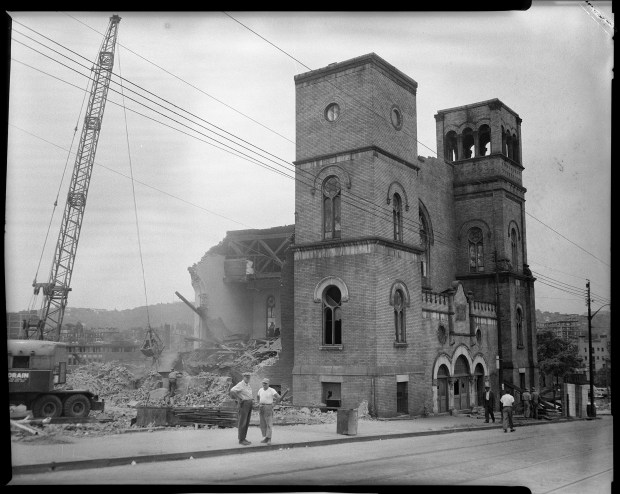 The 1957 demolition of Bethel AME Church on Wylie Avenue and Elm Street in the Lower Hill District. (Photo by Charles 'Teenie' Harris/Carnegie Museum of Art via Getty Images)