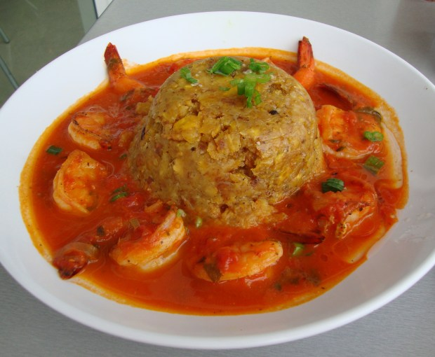 Mofongo served with shrimp. (Photo by Katherine Lynch via flickr.com)