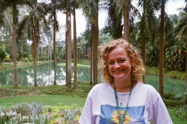 Leticia Aguilar, Botanical Garden and Natural Environment Manager, in front of the spot where Inhotim first began.