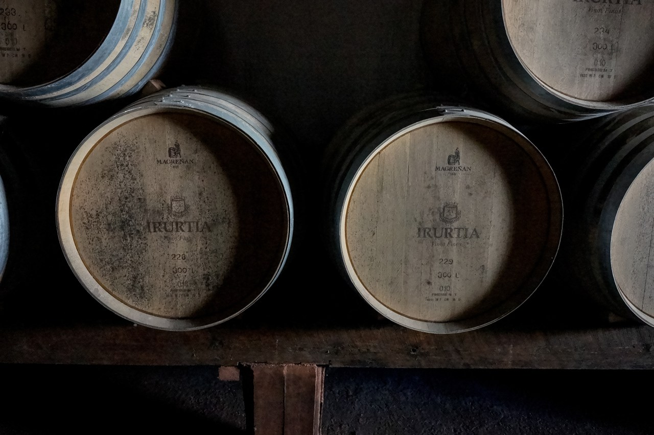Wine barrels at Bodega Familia Irurtia.