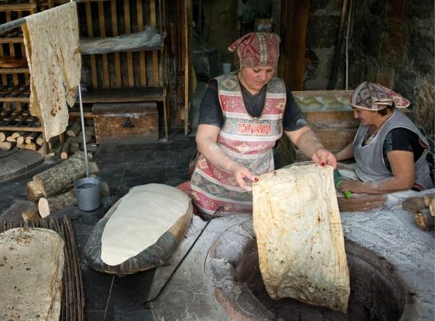 Baking Armenian lavash.