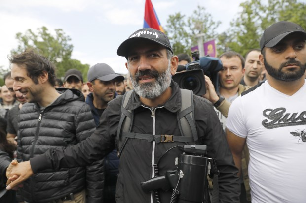 Pashinyan (center) during an opposition rally in April. Photo by Artyom Geodakyan/TASS via Getty Images.
