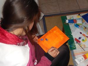 peinture acrylique fleurs et oiseaux