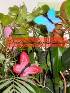 papillons laine feutrée cardée