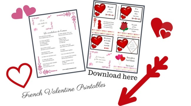Printable French Valentine cards