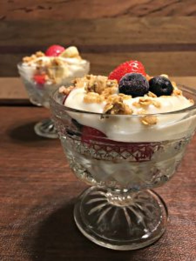 Yogurt parfait side view